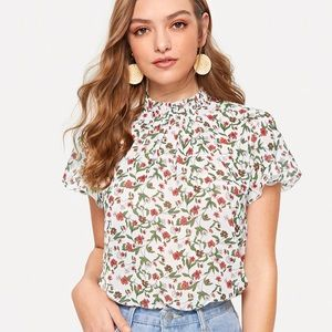 Floral high neck blouse